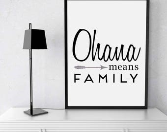 Ohana Means Family Art Print, Wall Decor, Wall Art, Home Decor, Wedding Gift, Home Sign, Home Gifts, Home Decor Art, Ohana Art, Ohana Decor