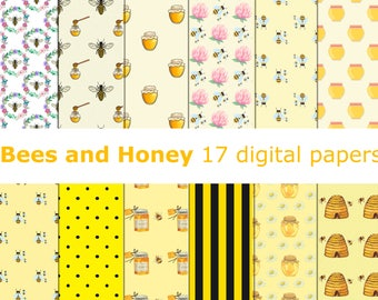 Bee and honey ~~ 17 digital papers ~~