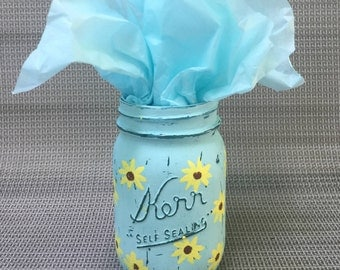 Custom Painted Mason Jar Yellow Sunflower Print