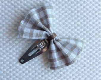 Taupe Gingham Bow Barrette