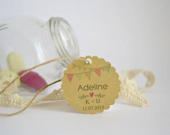 Cards wedding christening - model flags - guest - kraft paper packs of units 10/30/50/80/100/125/150