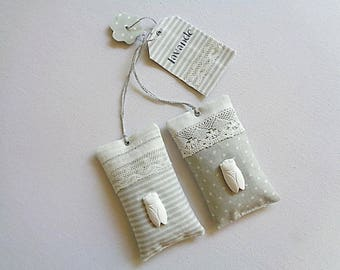 Lavender sachets, old lace, cicada ceramic transfer gift tag