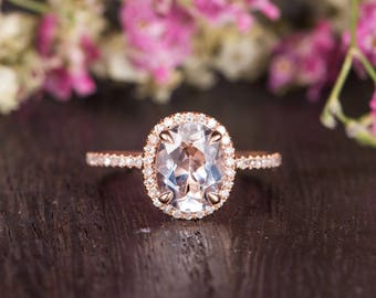 Oval Cut White Topaz Engagement Ring Rose Gold Birthstone Ring Bridal Half Eternity Diamond Antique Anniversary Women Promise Engraving Ring