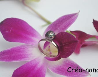 """Adjustable """"emergence"""" with the Tahitian Pearl ring"""