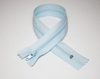 Zip closure, 30 cm, light blue, not separable