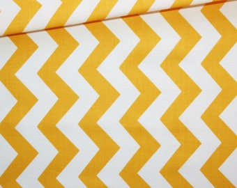 Chevron, 100% cotton fabric printed 50 x 160 cm, zig zag, orange and white chevron pattern