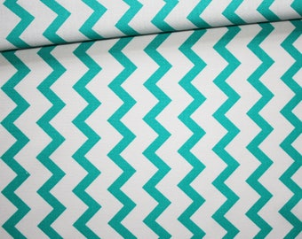 Chevron, 100% cotton fabric printed 50 x 160 cm, zigzag, chevron, turquoise and and white
