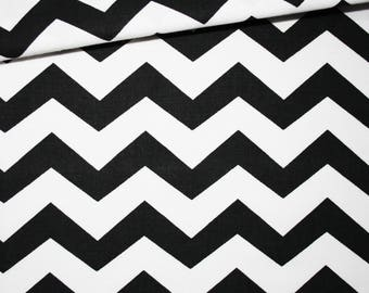Cotton fabric printed 50 x 160 cm, zigzag, chevron, black and white