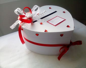 Wedding white and red heart urn
