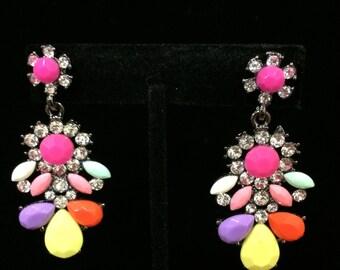 Lady Clear Multicolor Crystal Dangle Earrings