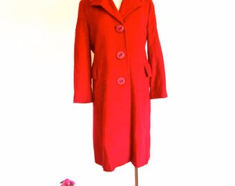 M L 60s Red Wool Coat by Frostman Big Red Buttons Knee Length Mod Era Warm Medium Large
