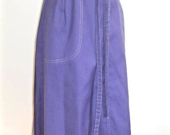 S M 60s 70s Wrap Skirt Purple Patch Pockets Tie Front Casual Summer Wear by Century Small Medium