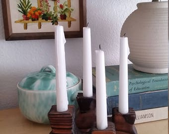 Pair of Vintage Wooden Candlestick Holders