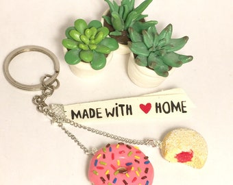 Keyring Fimo donuts and donut