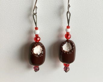 Chocolate Kiss Earrings (925 silver ear)