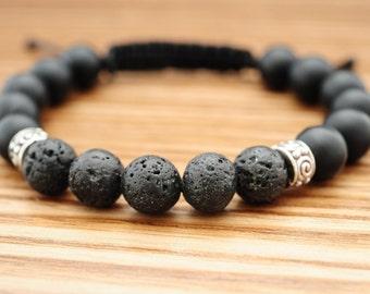 Mens Bracelets, Mens Beaded Bracelets, Man Bracelet, Mens Energy Bracelet, Mens Lava Bracelet, Mens Black Bracelet, Mens Gift for Boyfriend
