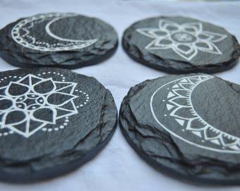 Hand Painted Slate Coasters- set of 4