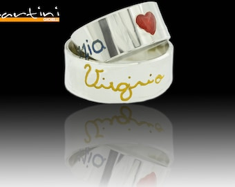 Name and twin ring enamelled heart