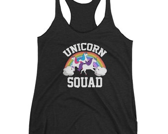 Women's Colorful Rainbow Unicorn Squad Racerback Tank Top