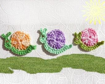 appliqués snail multicolor crochet