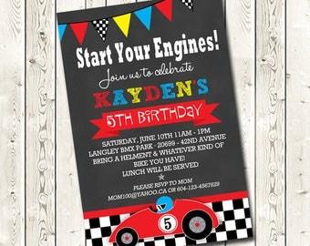 Race Car Birthday Invitations, Digital Download