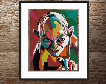 Lord of the Rings Cross stitch pattern The hobbit lovers gift Smeagol Gollum Instant download Easy Pattern birthday gift My precious for her