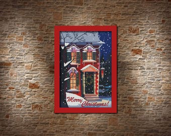Merry Christmas cross stitch pattern Christmas poster Christmas gift for best friend Winter house Christmas eve mom gift Christmas ideas