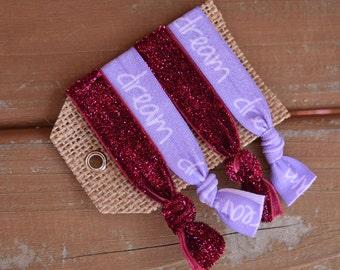 Set of 4 Elastic hair ties/ foe hair ties/ ponytail holders/ fold over elastic/ purple/ maroon