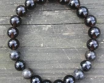 Bead Bracelet Rare Black Morion Quartz Arfvedsonite Astrophyllite Black Tourmaline Protection Manifestation Anxiety Depression