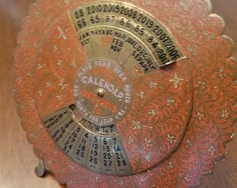 Brass 55 year perpetual calendar 1965 - 2019