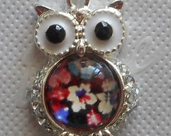 OWL charm silver floral belly resin 2.00 cm tall