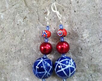 Red & blue boho long dangle earrings