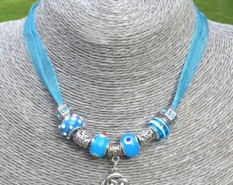Turquoise, Organza, Ribbon, Necklace, Charm, Pendant, Lampwork, Beads, Rhinestone, Silver