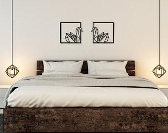 Set of 2 wall art, swans wall art, metal laser cut, romantic gift wife, bedroom wall decor for women, minimalist wall art, valentines day