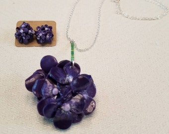 Purple Hydrangea Jewelry Set