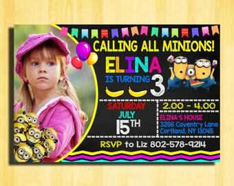 Minion Birthday Invitation, Minion Invitation, Minion Birthday Party, Minion Birthday, Minion Party, Minion Party Favors