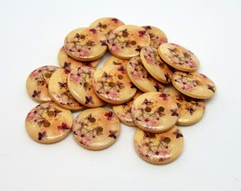 8 Butterfly Painted Round Wooden 2 Holes Buttons 15mm