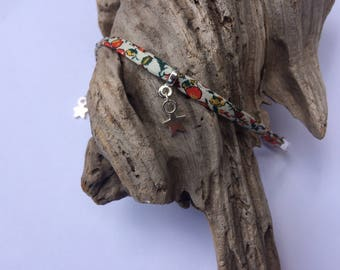 Liberty beige and orange - Silver Star bracelet
