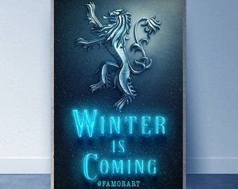 Winter Is Coming Neon Ice Digital Art, Game Of Thrones, The Knight King, DIGITAL DOWNLOAD