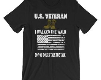 I Walked the Walk U.S. Veteran T-Shirt - Tee Shirt for Army, Navy, Air Force, Marine Veterans - Vets of Iraq, Afghanistan, Vietnam Wars