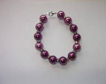 Burgundy Pearl glass beads bracelet