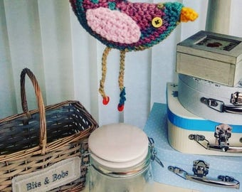 Hanging Colourful Crochet Bird Toy