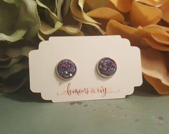 10mm STAINLESS STEEL Maroon Druzy Earrings | Maroon Earrings | Maroon Druzy Earrings | Druzy Studs | Dark Maroon Studs | Maroon Jewelry
