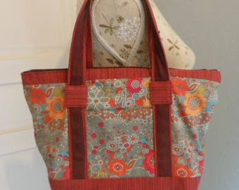 Flower print cotton handbag