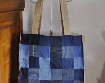 Bag patchwork of denim and burlap lining pea