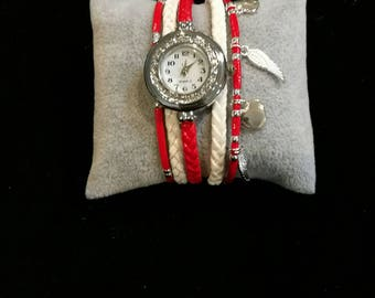 Red and white multi strand wristwatch