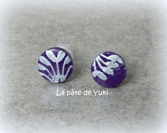 Stud Earrings round silver purple handmade polymer clay