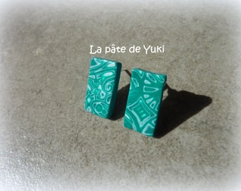 Green and white rectangular earrings made of polymer clay