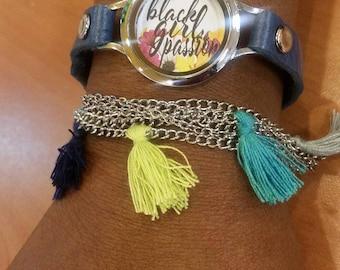 Black Girl Passion  Blue Wraparound Bracelet