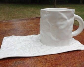Porcelain cup and saucer paper MUG